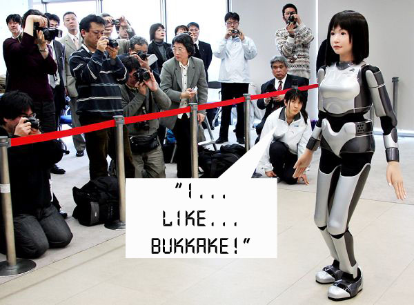 "A ""cybernetic human"" HRP-4C, designed to look like an average Japanese woman, walks in front of journalists during a demonstration in Tsukuba, near Tokyo, Monday, March 16, 2009. The humanoid robot having a female face and black hair trimmed down to 43 kilograms (95 pounds) to make a debut at a fashion show later in the month. (AP Photo/Koji Sasahara)"